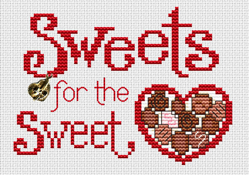 Sweets For The Sweet Post Stitches cross stitch chart with charm Sue Hillis Desi