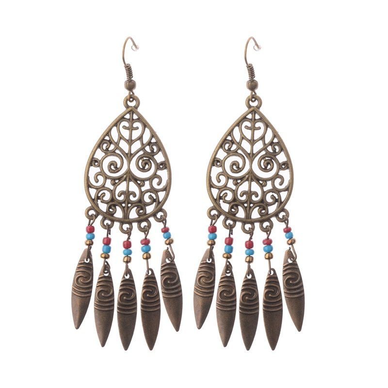 1 pair bronze native american hollow leaf tassel antique boho drop earrings 2017 new hqe007