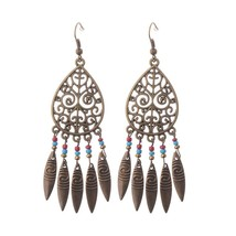 1 Pair Bronze Native American Hollow Leaf Tassel Antique Boho Drop Earri... - $7.12