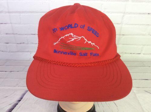 Vintage 7th World Of Speed Bonneville Salt Flats Adjustable Zipper Red Hat Cap