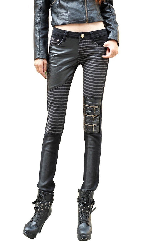 Yosinacos Women's Leather Steampunk Pants Skinny Legging ...