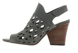 Vince Camuto Cutout Nubuck Heeled Sandals- Deverly Smoke Stack 8M NEW A3... - $91.06