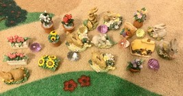 Vintage Russ Enesco nature's wonder bunny figures lot of 18+ With Basket... - $88.97