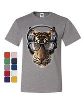 Freaky Tiger T-Shirt Music Headphones Glasses Animal DJ Party Tee Shirt - $8.36+