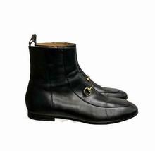 Gucci Women's Jordaan Horse Bit  Chelsea Leather Ankle Boots 39.5 EU 9.5 US Blk - $699.19