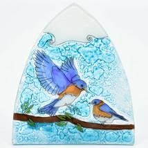 Handmade Fused Art Glass Bluebirds Blue Birds Nightlight Night Light Ecuador image 2