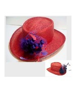 Society Red Gambler Straw Hat with Netting Feathers Curly-Qs Something S... - $29.95