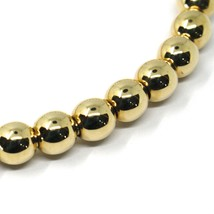 18K YELLOW GOLD BRACELET, SEMIRIGID, ELASTIC, BIG 6 MM SMOOTH BALLS SPHERES image 2