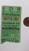 Season Ticket Stub for White Sox at Orioles, May 10, 1967-Tommy John Win - $8.38