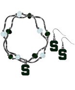 NCAA - Michigan St. Spartans Dangle Earrings and Crystal Bead Bracelet Set  - $29.99