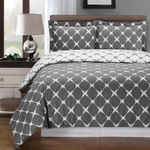 Bloomingdale Grey & White Cotton Duvet Cover Bedding Set - ALL SIZES - $67.68
