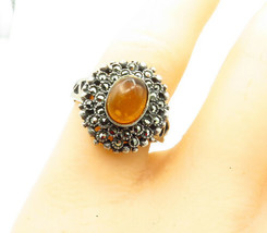 925 Silver - Vintage Victorian Amber & Marcasite Cocktail Ring Sz 8 - R1... - $28.15