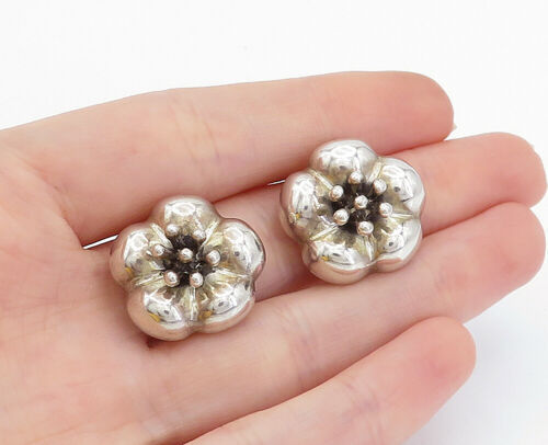 Primary image for MWS MEXICO 925 Silver - Vintage Shiny Flower Non Pierce Clip On Earrings - E9182