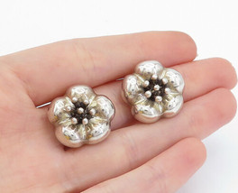 MWS MEXICO 925 Silver - Vintage Shiny Flower Non Pierce Clip On Earrings... - $47.12