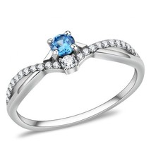 Women's Round Sea Blue Cubic Zirconia Stainless Steel Ring#09128 - $19.99