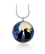 Black Cats sitting by Moon Necklace - Animals  - Gifts for pet lovers- k... - $18.32