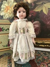 Brinns 1990 Porcelain Doll 14 inch Glass Eyes Brunette Braids Hand Painted - $157.02