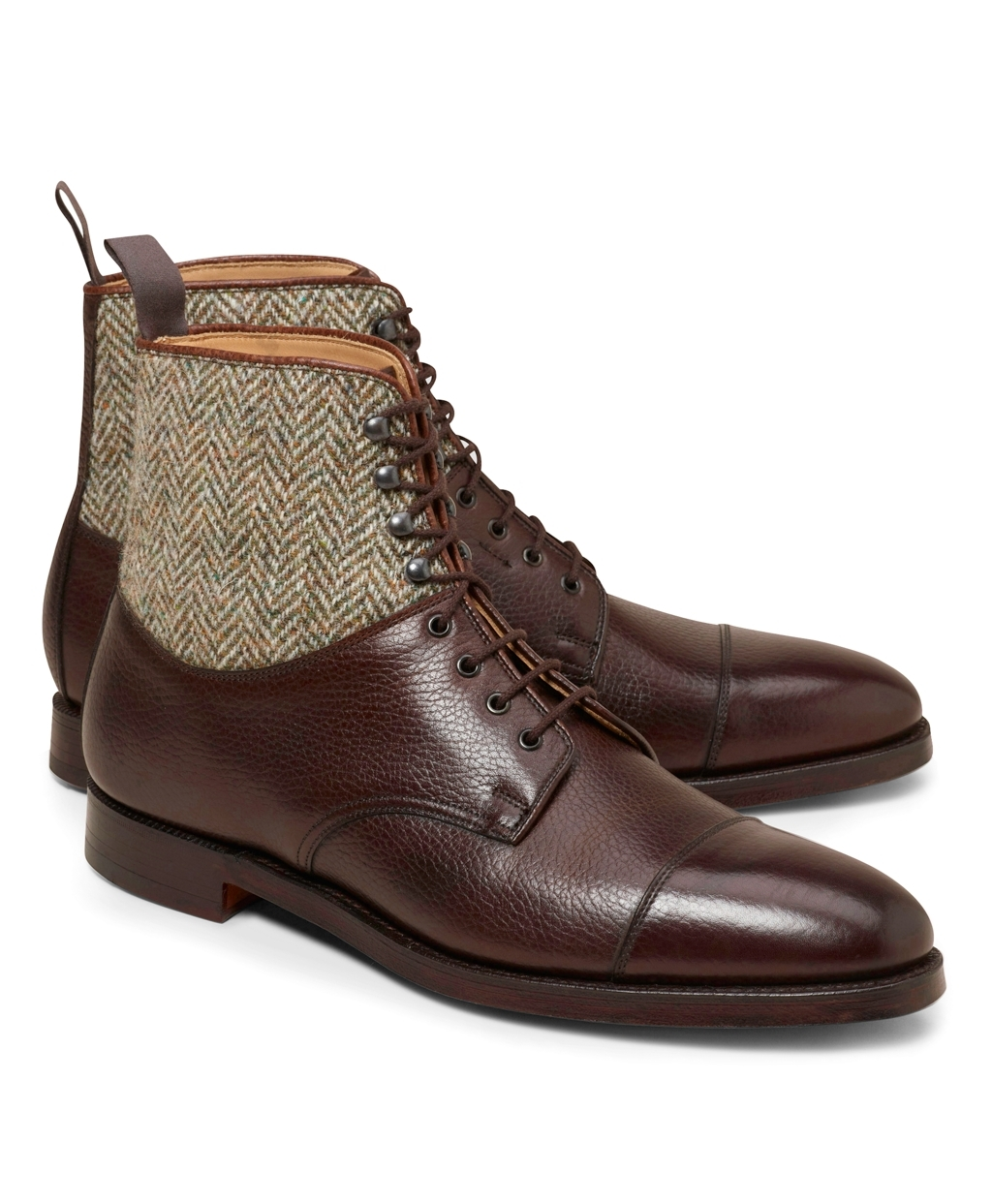 10a2844b9958 Handmade men brown leather boots, tweed fabric boot for men, formal dress  shoes- Boots