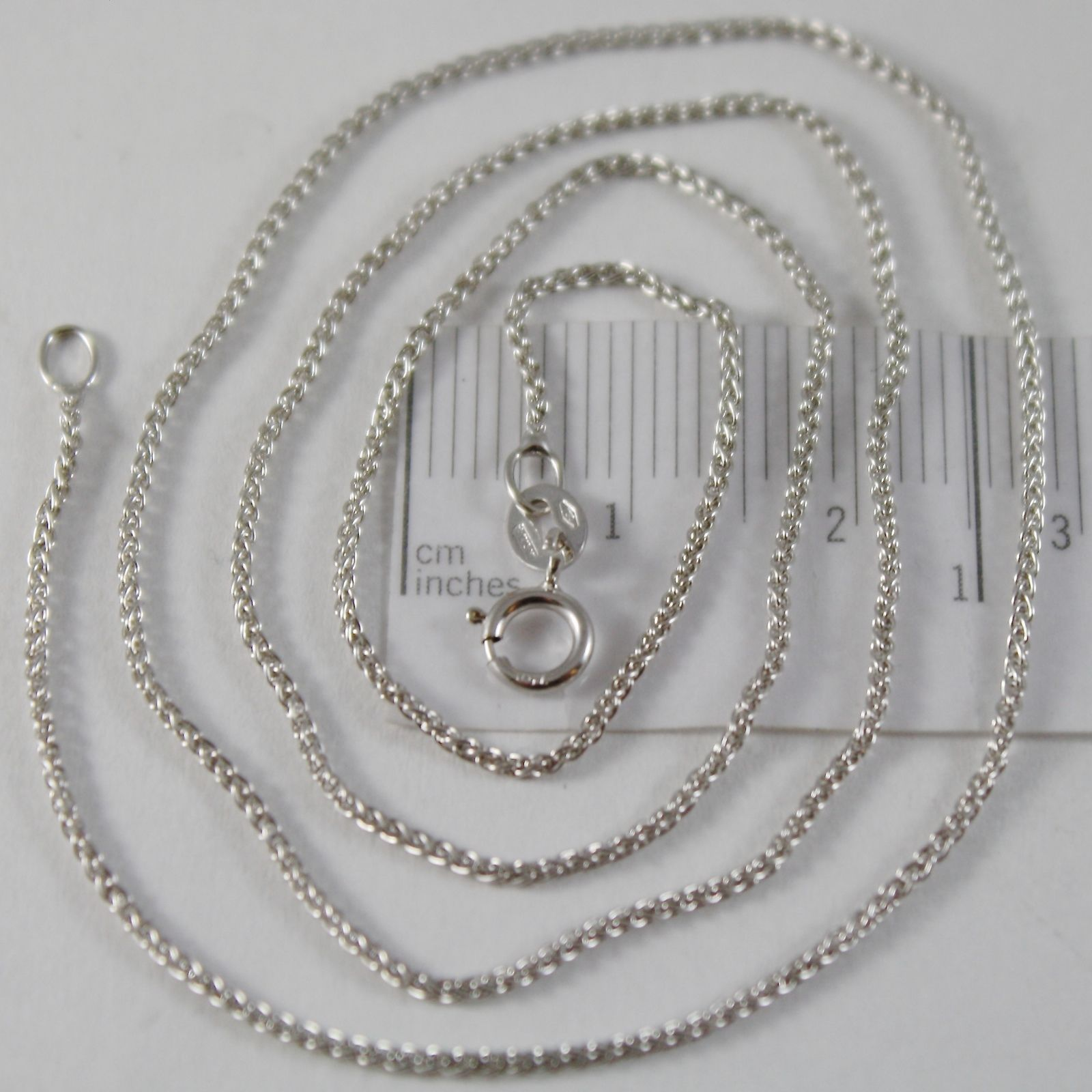 SOLID 18K WHITE GOLD SPIGA WHEAT EAR CHAIN 24 INCHES, 1.2 MM, MADE IN ITALY