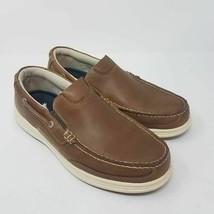 Dockers Mens Tiller Boat Shoes Brown Leather Moc Toe Mesh Slip-On 9.5 W New - $36.99