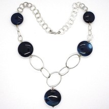 Silver 925 Necklace, Agate Blue Banded, Disco, with Hanging Charm, Length 50 CM image 2