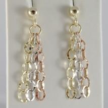 18K YELLOW ROSE WHITE GOLD PENDANT EARRINGS CASCADE THREE FRINGES MADE I... - $184.00