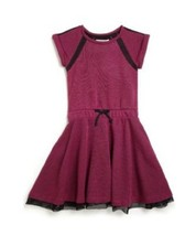 DKNY Girl's Two-Tone French Terry Knit Dress, Wild Aster, Size L, MSRP $48 - $23.75