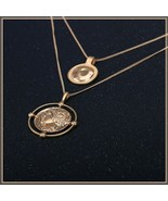 Double Roman Gold Coins Displayed As Necklace Pendant Replica of Ancient... - $18.95