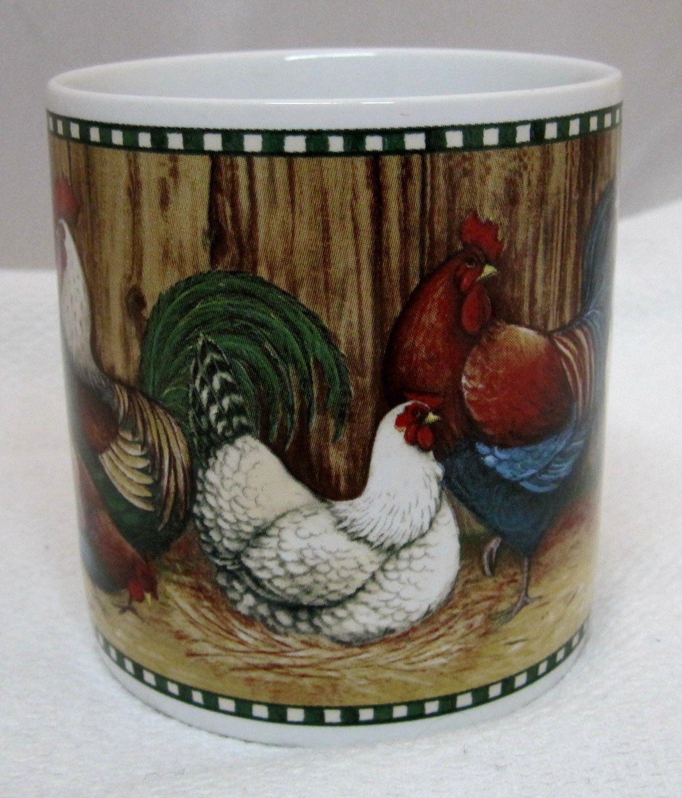 David Carter Brown Coffee Mug On the Farm 2002 Sakura Rooster & Chicken
