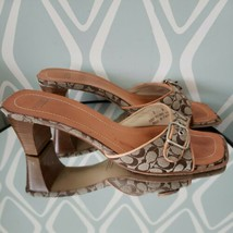 Coach Signature Logo Brown Beige Sandals Womens Slide Size 7 - $34.64