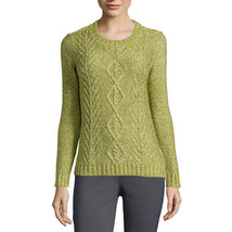 St. John's Bay Long-Sleeve Marled Cable Sweater Size PS Turtle Green New - $16.99