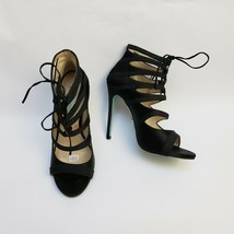 Betsey Johnson Womens Shoes Heels Sandals Caged Lace-Up Black Mila Size ... - $44.50
