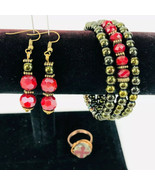 Burgundy Stack Bracelet Wrap Earrings Matching Ring Handcrafted Antique ... - $39.59