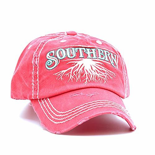 scarlettsbags Distressed Country Southern Roots Cap Baseball Hat (Coral Pink)