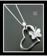 Butterfly on Heart Sterling Silver Necklace - $24.98