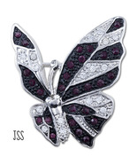 Stunning Striped Butterfly Crystal Red Rhinestones - $15.75