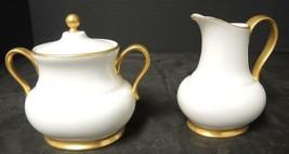 Hutschenreuther Creamer & Sugar * White & Gold Trim - $28.49
