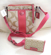 AUTH COACH Signature C Swing Pack Handbag w/ Matching Wallet Hot Pink Tr... - $127.71