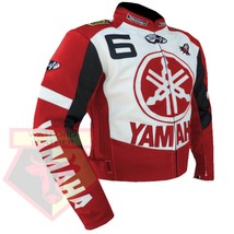 YAMAHA 6 RED MOTORCYCLE MOTORBIKE BIKERS ARMOURED COWHIDE LEATHER JACKET - $194.99