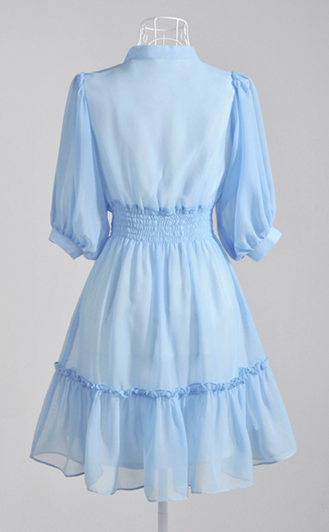 SALE. Summer Blue. Soft Feminine Deep V Neck Ribbon Chiffon Dress