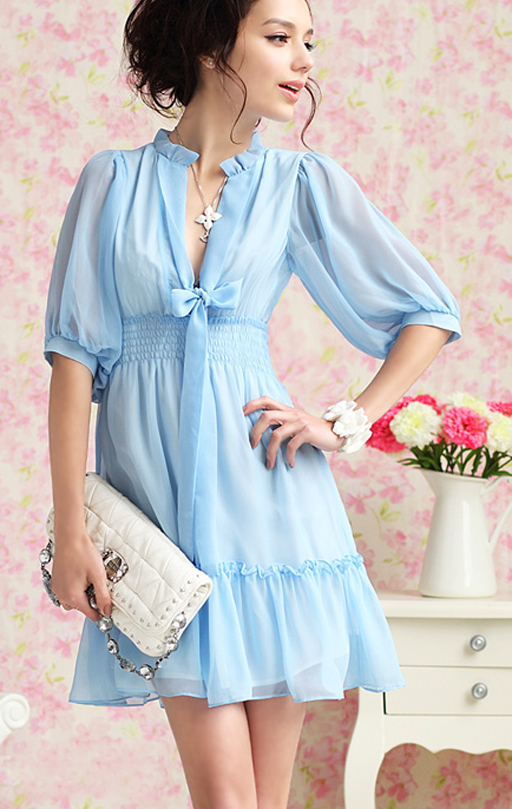 Spring chiffon white dress deep v blue model