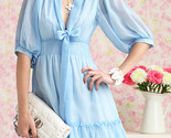Spring chiffon white dress deep v blue model thumb155 crop