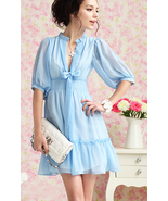 SALE. Summer Blue. Soft Feminine Deep V Neck Ribbon Chiffon Dress - $87.90