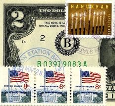MONEY US $2 DOLLARS 1976 NEW YORK  FIRST DAY STAMP CANCEL & HANUKKAH GEM UNC image 4