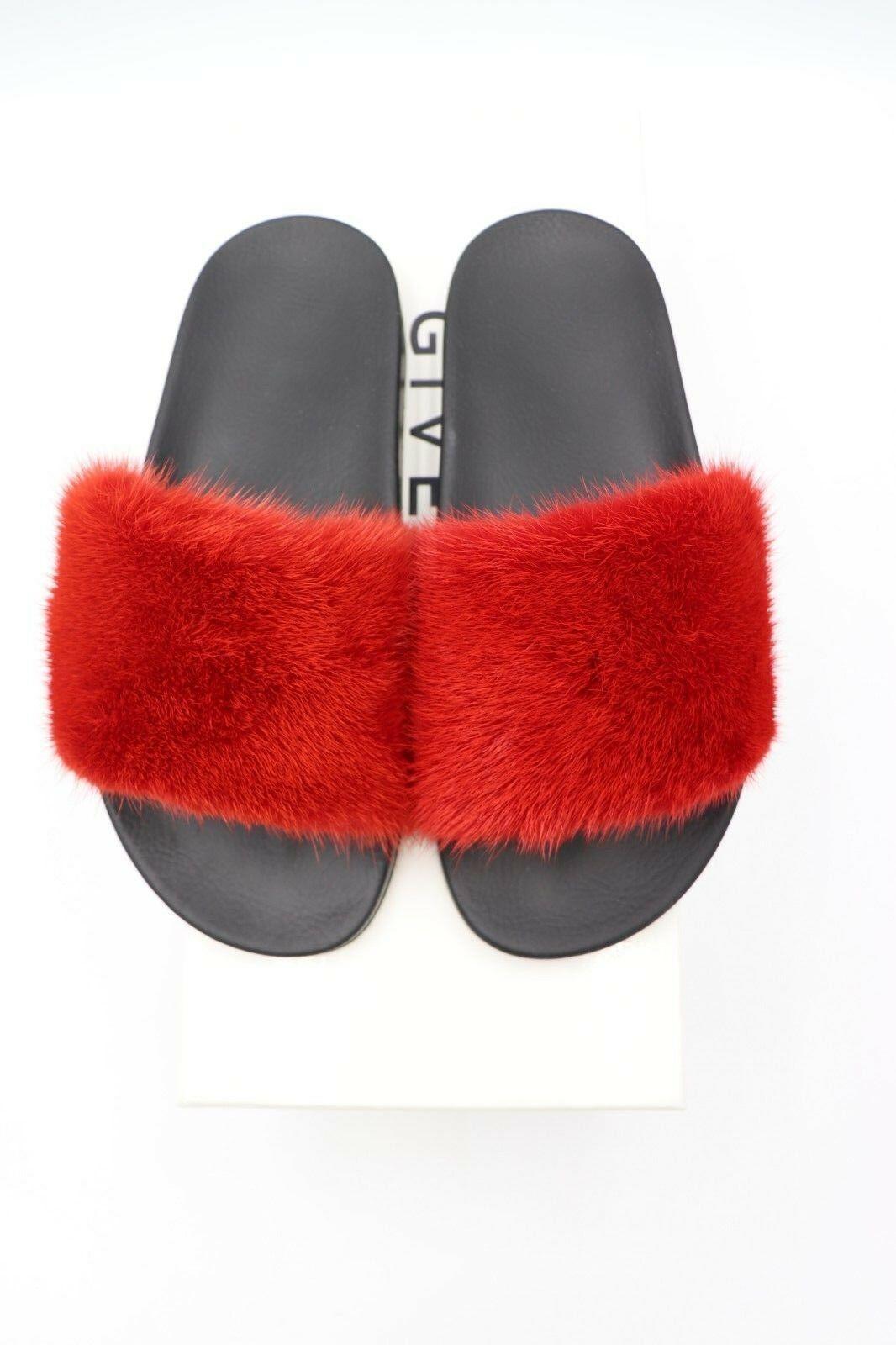 NIB GIVENCHY Paris Red Mink Fur Slide Sandals Flats New 7 37  $595