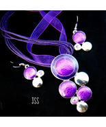 Stylish Purple Circle Set Earrings and Necklace - $15.00