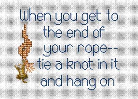 End Of Your Rope Post Stitches cross stitch chart with charm Sue Hillis Designs