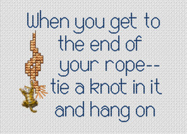 End Of Your Rope Post Stitches cross stitch chart with charm Sue Hillis Designs image 1