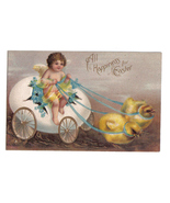 Vintage Easter Post Card Giant Egg Chicks Cupid - $9.50
