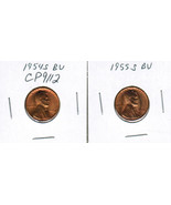1954-S and 1955-S BU Lincoln Penny Pennies Cent... - $2.25